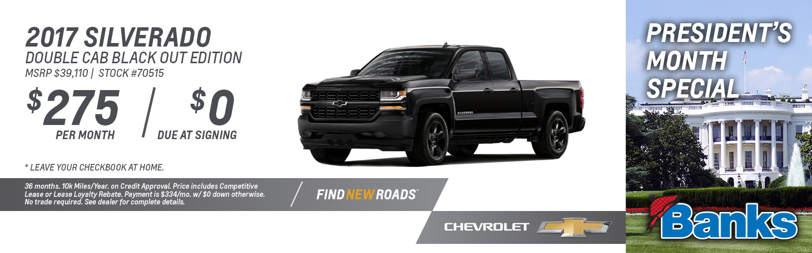 2017 Chevy Silverado Double Cab Black Out Edition President's Day Special
